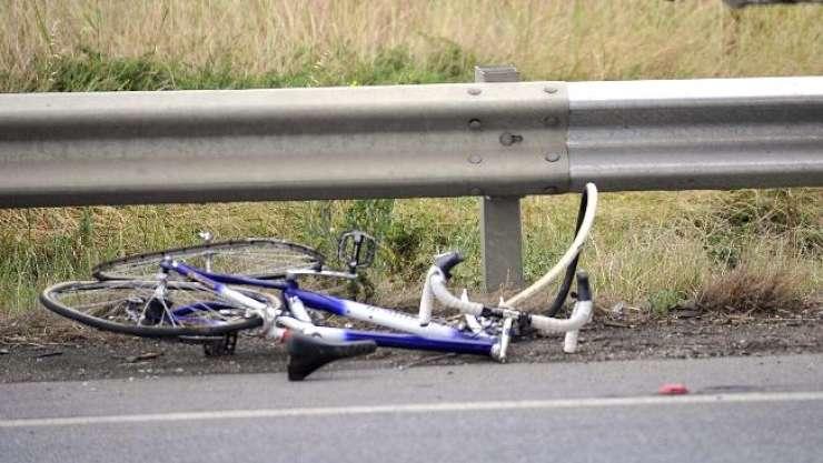 Padec kolesarja!