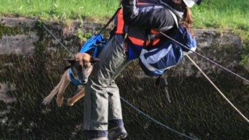 Reševanje psa iz reke Hubelj!
